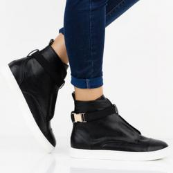 Кеды SAFFIA BUCKLE TRIM HI TOP - BLACK